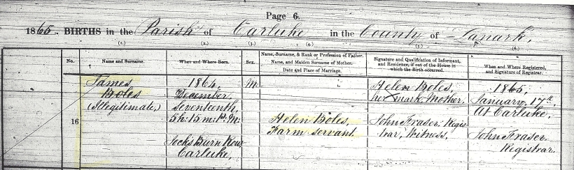 BOLES, James, 1865 Birth Record