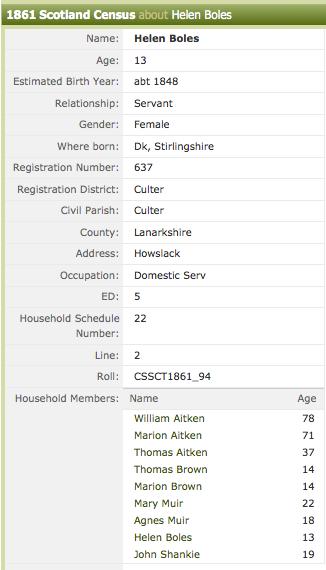Helen Boles, 1861 Census