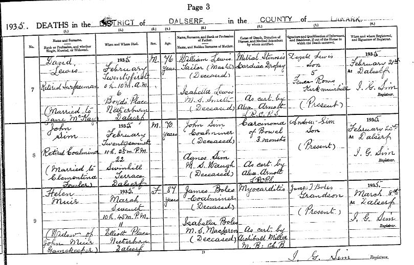 Helen Boles Muir, 1935 Death Record