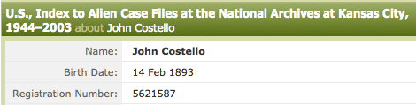 COSTELLO, John, Alien File Number