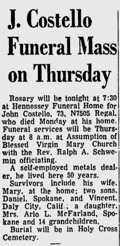 COSTELLO, John - Funeral Notice