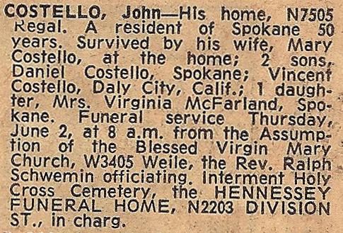 COSTELLO, John, Obituary