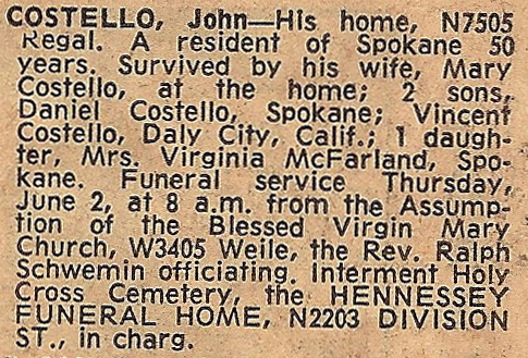 COSTELLO, John, Obituary