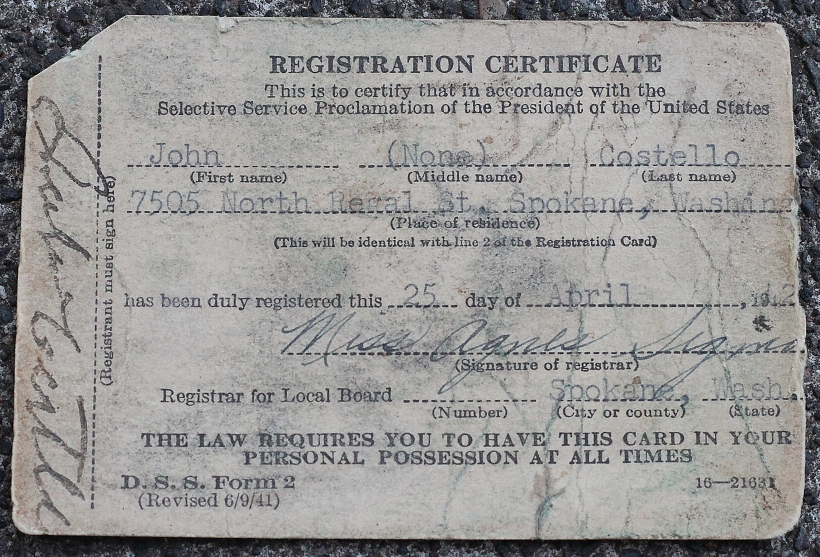 COSTELLO, John, Selective Service Card - front