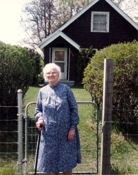 Mary Young Costello, April 1988 in front of her home on Regal in Spokane, WA