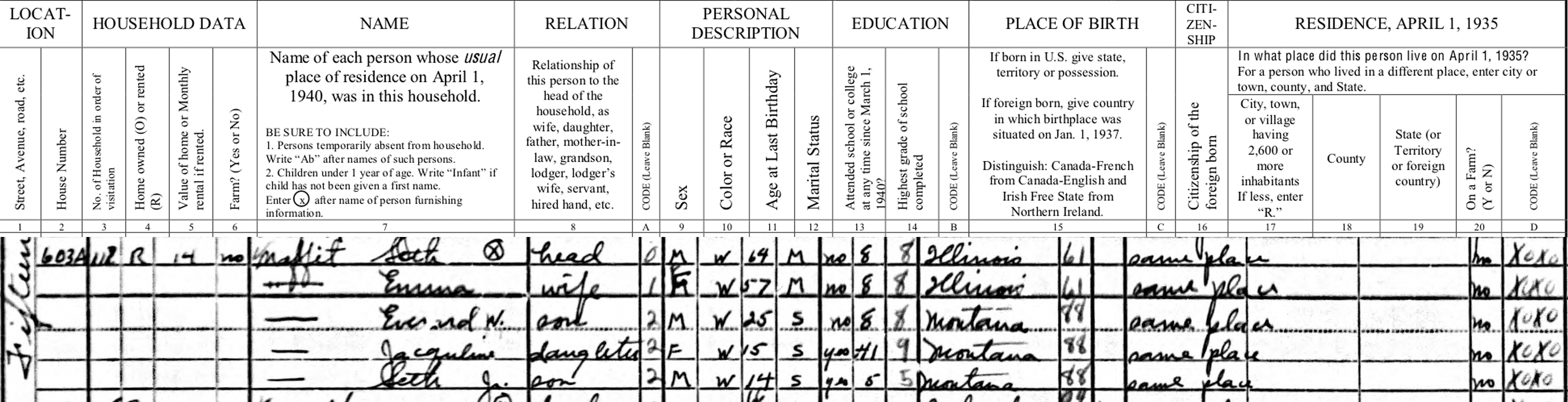 From the Beginning: Understanding the US Federal Census, 1940 ...