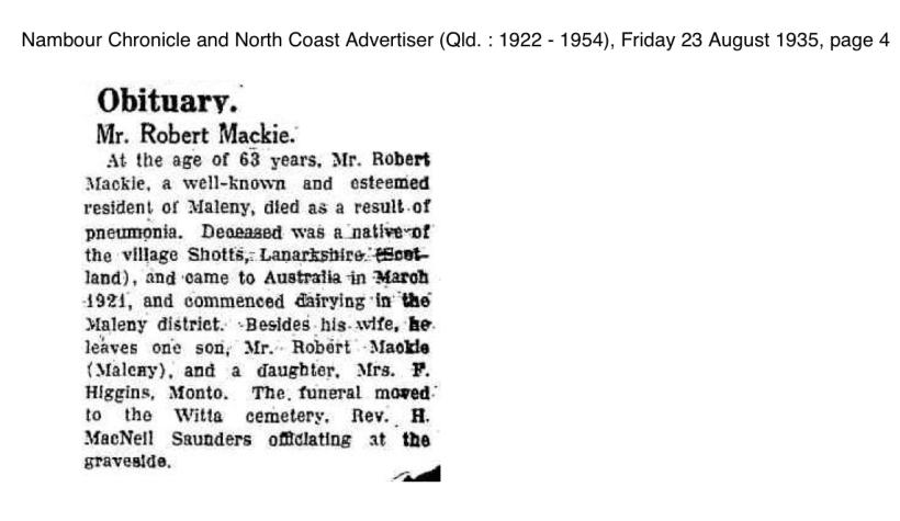 MACKIE, Robert, 1935 Obituary