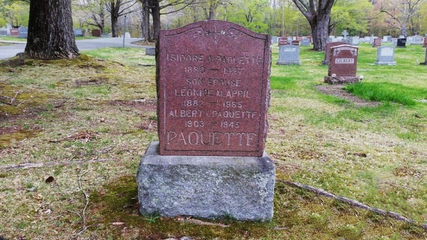 PAQUETTE, Isidore A, & Leonide M April headstone
