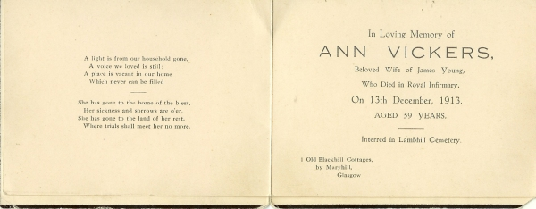 Ann Vickers Young Memorial Card