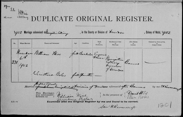 BOLES, Christina & William Wise, 1902 Marriage Record