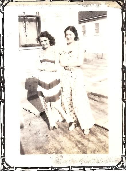 Back reads:  'Hi & I, 1932' in Estelle's handwriting.  Estelle on left, Hi on right.