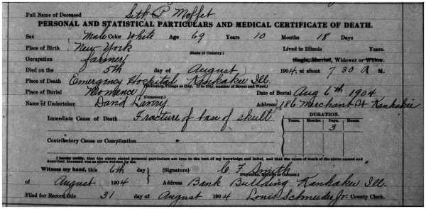 MAFFIT, Seth Potter, 1904 Death Record