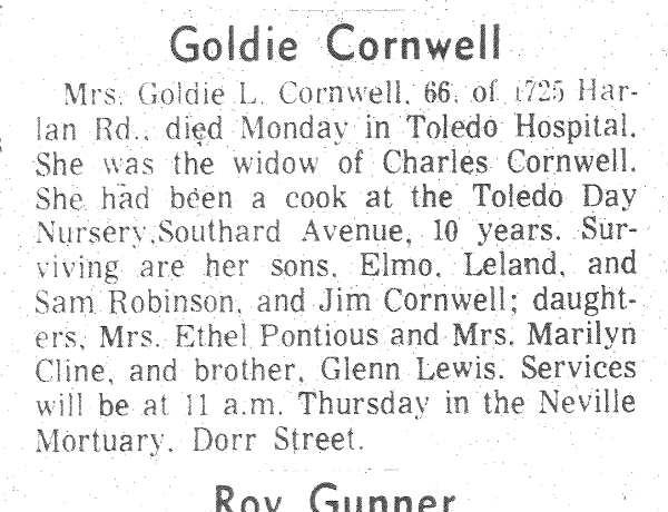 CORNWELL, Goldie, 11 May 1976 Obit 2