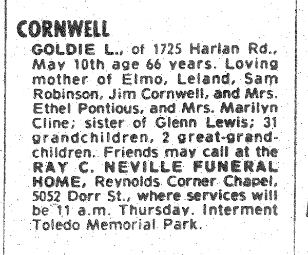 CORNWELL, Goldie, 11 May 1976 obit