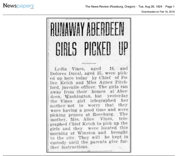 Dolores Duval, 1924 Runaway Article