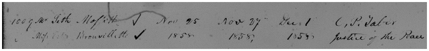 MAFFIT, Seth & Esther Brouillette, 1858 Marriage Register - zoom