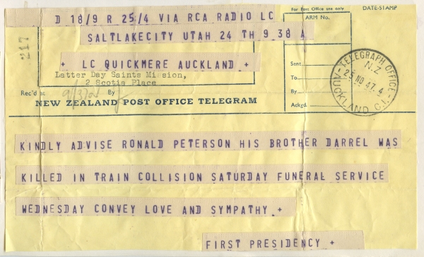 PETERSON, Ronald Skeen, 1947 Telegram notifying Darrells death