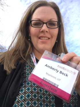Me at RootsTech 2017, if my smile looks uncomfortable, it was, I had a cold sore all week. Darn it!