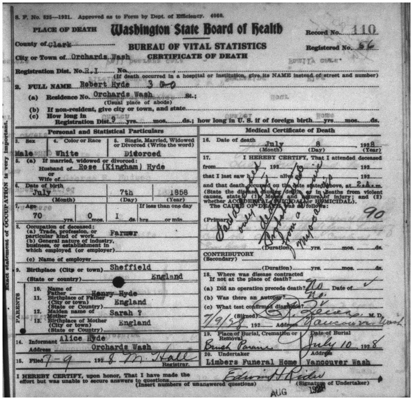 HYDE, Robert, 1928 Death Record