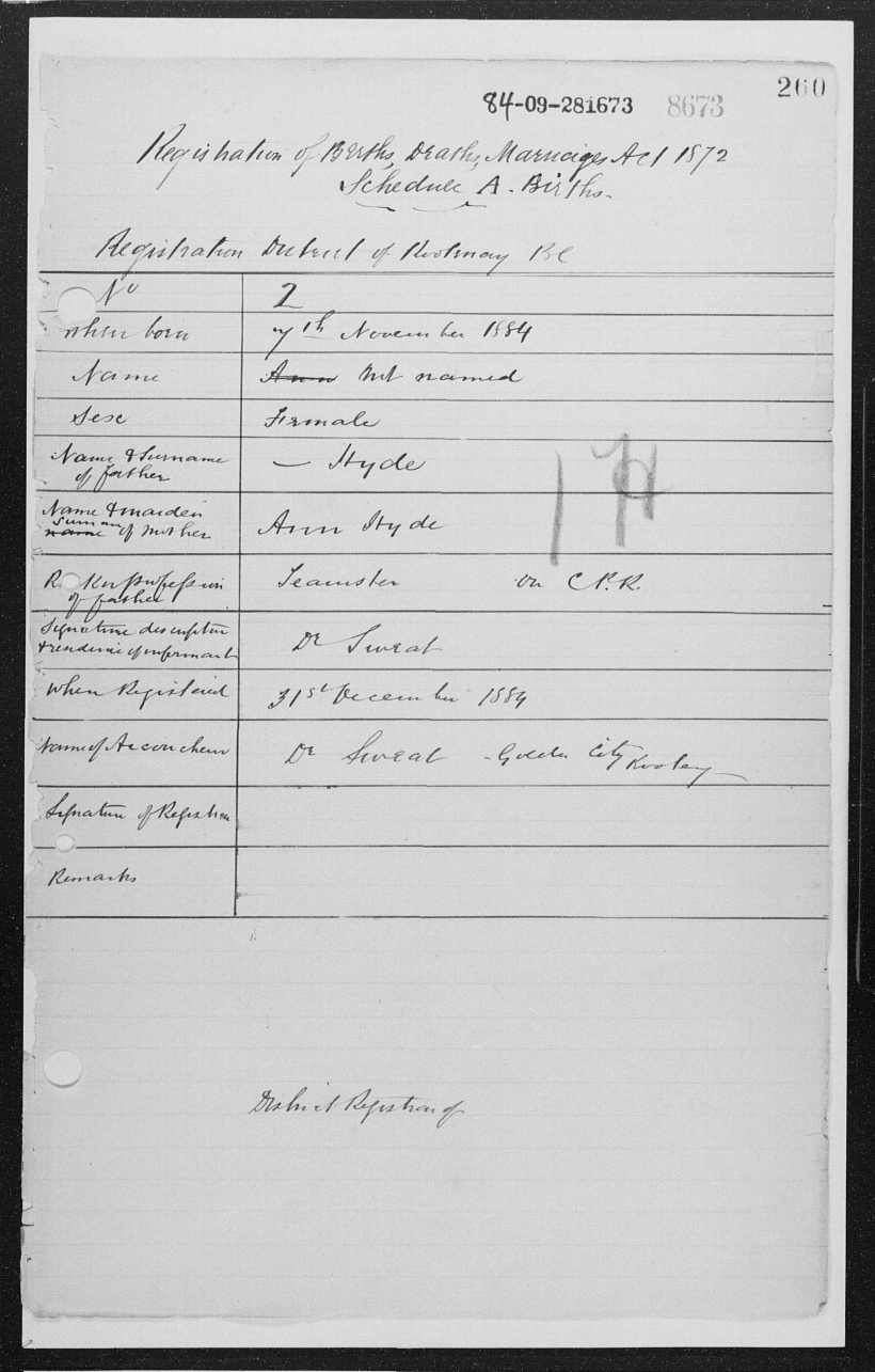 HYDE, Rosey, 1884 Birth Record