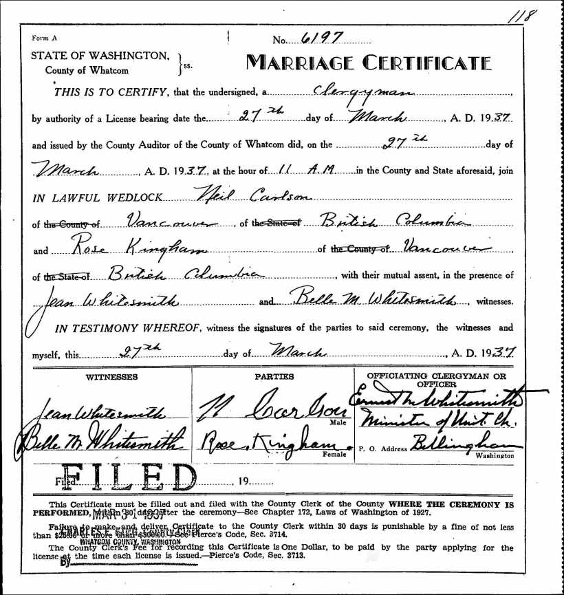 Kingham, Rose & Neil Carlson, 1937 Marriage Record