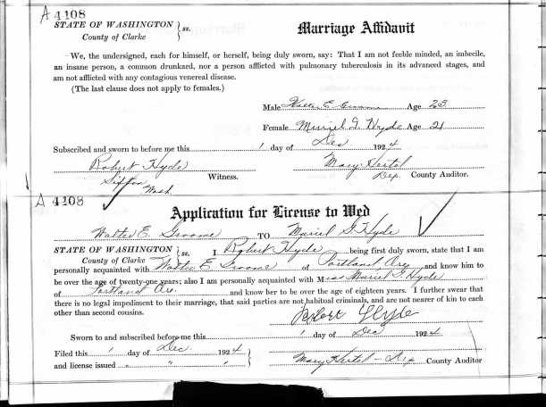 HYDE, Muriel Grace and Walter E Groome, 1924 application for license to wed