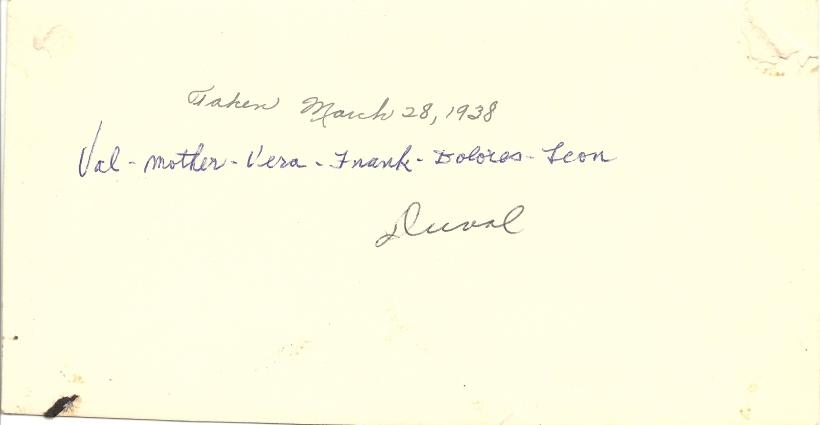 DUVAK family, 28 March 1938 - back