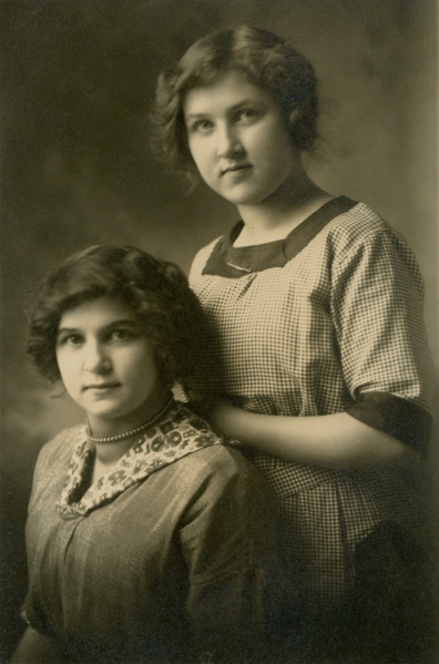HUBAND, Blanche on right, Luella Orton on left