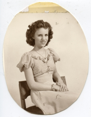 DUVAL, Deane Alice wearing formal dress as teenager